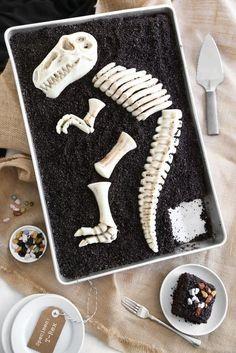 Easy dinosaur birthday party cakes: A dead simple Dino Dig Chocolate Sheet Cake | Sprinkle Bakes