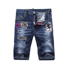 e962b1eccff6b9 Dsquared2 SS2018 Mens Short Jeans Tiger Badge Navy Blue #mensjeansoutfit  Discount Clothing, Jacket Jeans