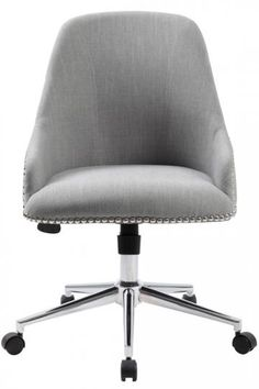 Unique shape, comfortable upholstery and a rotating base make this a great desk chair for the office. HomeDecorators.com