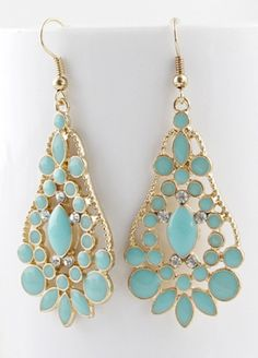 Green Gemstone Gold Hollow Drop Dangle Earrings pictures
