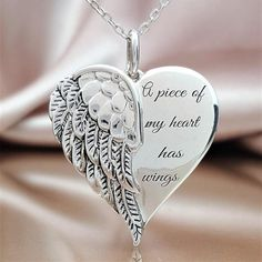 It is hard to build a life around the missing pieces of the heart. This lovely angel wing heart necklace will be a constant reminder of the unsevered bond you s Small Angel Tattoo, Angel Tattoo For Women, Guardian Angel Tattoo, Tattoos For Women Small, Small Tattoos, Tattoos For Guys, Angel Wing Necklace, Unique Tattoos, Angel Wings