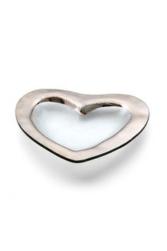 "Designed from her heart with yours in mind Annie has designed the contemporary Annieglass Heart Medium Bowl. This handmade glass bowl with a wide hand-painted band of platinum around the rim is suitable for more than home decor and Valentine's Day gifts.Dishwasher-safe Durable Chip-Resistant.  Measures 8""  Heart Bowl by Annieglass. Home & Gifts - Home Decor - Dining California"