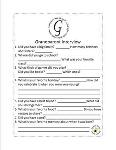 Summer Service Project Ideas for Kids - Interview Grandparents School Holidays, School Days, School Stuff, Grandparents Day Activities, Quotes Girlfriend, Grands Parents, Grandchildren, Grandkids, Daddy