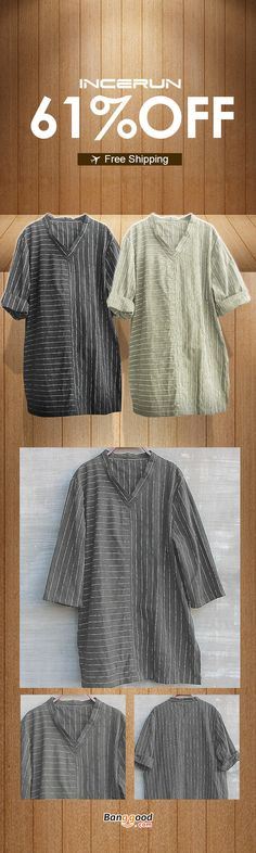 152f0c5615c Men s Striped Stand-up Collar Casual Tops Short-sleeved Breathable Thin  Slim Linen Shirt. Banggood