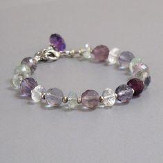 djs Fluorite Aquamarine Amethyst Gemstone Sterling Silver Bead Bracelet Sundance