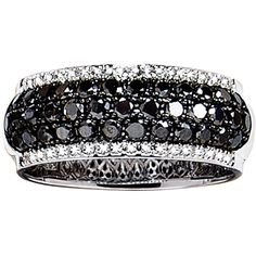 Effy Collection Black And White Diamond Band In 14 Kt. White Gold, 1.67 Ct. T.W.