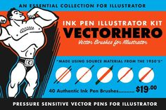 Ad: Vector Brush Toolbox for Affinity by RetroSupply Co. on The Vector Brush Toolbox for Affinity Designer is the ultimate brush kit for Affinity Designer illustrators. A collection of five of our Texture Web, Line Texture, Brushes Free, Vector Brush, Ink Splatter, Affinity Photo, Design Typography, Affinity Designer, India Ink
