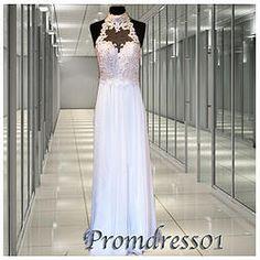 #promdress01 prom dresses - 2015 elegant white lace high neck sleeveless chiffon senior prom dress for teens, ball gown, occasion dress #prom2k15 #promdress -> www.promdress01.c... #coniefox #2016prom