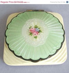 ON SALE - Antique ART Deco Powder and Rouge Compact Guilloche Enamel * Medallion with Pink Roses