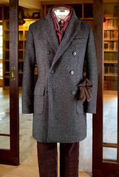 Typisch britisch und ganz neu bei HIRMER  zweireihiger Mantel in original HARRIS  TWEED Harris Tweed 185f6ba822