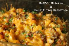 This quick and easy Buffalo Chicken Cauliflower casserole is the best casserole you'll ever eat! Chicken Cauliflower Casserole, Buffalo Chicken Casserole, Cauliflower Dishes, Bacon Recipes, Chicken Recipes, Cooking Recipes, Healthy Recipes, Chicken Meals, Delicious Recipes