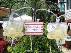 Drinks in Foley catheter bag