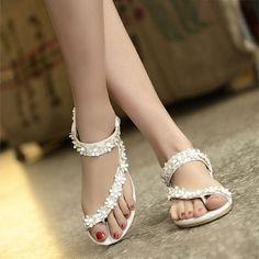 #FSJshoes - #FSJ Shoes Women's White Flora Open Toe School Shoes Ankle Strap Comfortable Shoes - AdoreWe.com