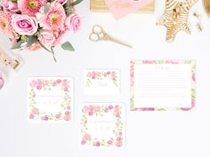 Bachelorette Party Watercolor Floral Stationery, Coasters and Place Cards by Simply Jessica Marie