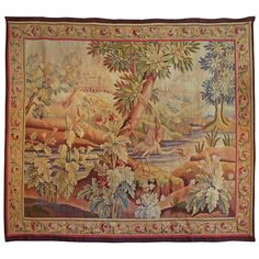 19th Century Aubusson Tapestry Having Vivid Colors and Its Original Border 1