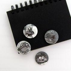 Button Set: Skulls, Owls, Animals $5