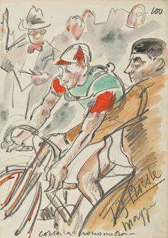 Anselmo Bucci - Giro d'Italia, 1939 http://www.italianways.com/anselmo-bucci-and-the-giro-ditalia-a-sports-commentary-by-images/ - Italian Ways