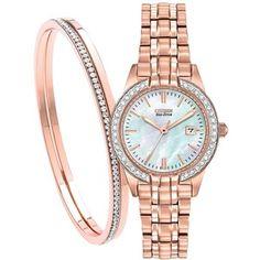 Citizen EW1683-65D SET Women's Silhouette Crystal Date Bracelet Strap Watch, Rose Gold/Mother of Pearl