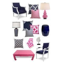 """Navy & Pink Decor"" by Coastal Style Blogspot"