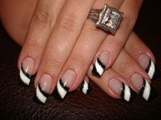 Black & White diagonal tips with glitter detail nail art design again id do with purple