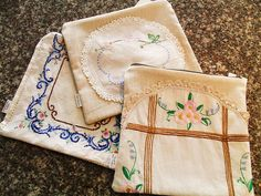 Vintage linen zipper bags - use up old doilies that still have some life in them!