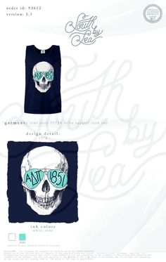 Alpha Delta Pi | ADPi | ADPi Skull Tank | Skull Tank Top | South by Sea | Sorority Shirts | Sorority Tanks | Greek Shirts