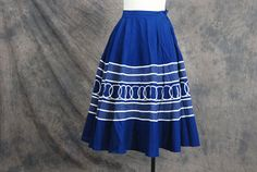 vintage 50s Circle Skirt  Navy Blue Waves Nautical by jessamity, $39.00