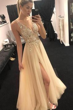 Buy Elegant Tulle Beads Straps Prom Dresses with Split, Long Cheap Evening Dresses online.Shop short long ombre prom, homecoming, bridesmaid evening dresses at Couture Candy Cocktail party dresses, formal ball gowns in ombre colors. Evening Dress Long, Cheap Evening Dresses, Cheap Prom Dresses, Elegant Dresses, Sexy Dresses, Evening Gowns, Formal Dresses, Long Gown Elegant, Evening Party
