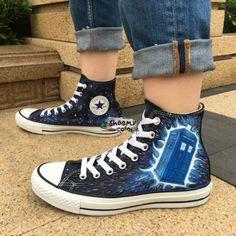 c68a0197482e Men Women Converse Shoes Hand Painted Doctor Who Tardis Canvas Sneaker