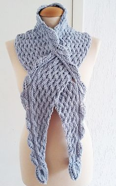 Designed Eco Cotton Scarf poncho, 3 dimensional structure of leaf lace sts, leaf edge sts, and chunky sts.