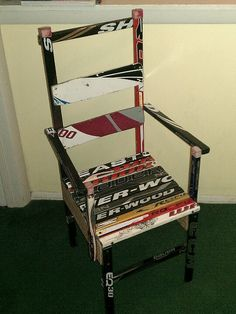 My daughters chair made by her Daddy out of Old Hockey Sticks, she plays ice hockey & loves it!