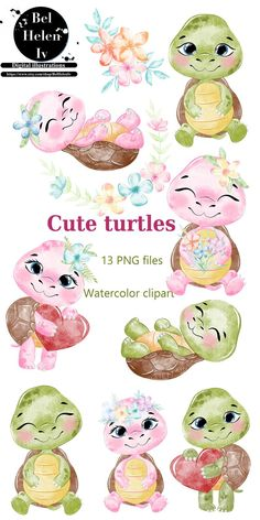 Cute turtles clip art, watercolor turtles clipart, family animal clipart. Children's illustration animals, cute animal pictures. PNG