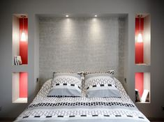 Modern style bedroom with in-walls bed tables, grey headboard and combination of the colors red a… Bedroom Interior, Modern Bedroom Design, Home Room Design, Master Bedrooms Decor, Bedroom Bed Design, Modern Bedroom Decor Grey, Interior Design, Ceiling Design Bedroom, Modern Style Bedroom