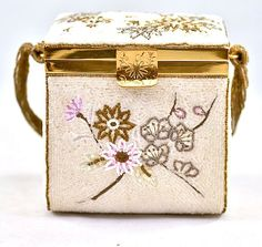 ca 1940's Fuji Box Handbag with Hand Seed Beading & Floral Pattern