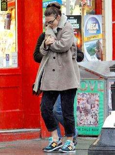 Keira Knightley, who's pregnant with her first child, stepped out in London on Jan. 29, wearing a shearling coat and colorful sneakers; see her maternity street style here