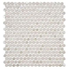 Cosmo Penny Round Ash 11-1/4 in. x 12 in. Porcelain Wall Tile (combo of matte, glossy and iridescent/pearlized finishes), $7.41/sq ft...would be a pretty accent stripe in the basement bathroom shower