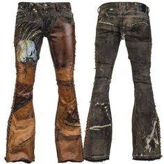 New design. Distressed Dyed Denim Brown Leather WSCP-249 https://www.wornstar.com/collections/pants/products/stage-pants-mto-distressed-dyed-denim-brown-leather-wscp-249