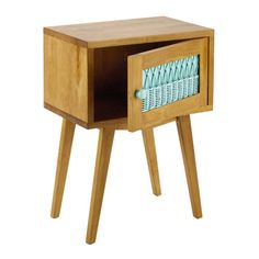 Table de chevet vintage en bois et rotin vert d'eau L 43 cm