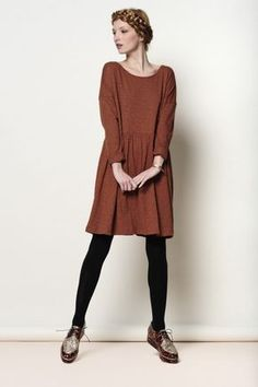 Brown Tenille dress 100% slub cotton - robe - Des Petits Hauts