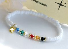 Salvation Bracelet/Stretchable White Matte by HeartofGems on Etsy