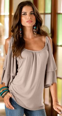 casual yet trendy.  like the peek shoulder
