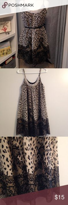 "🆕 Listing! Charlotte Russe Dress Gorgeous fully lined slip dress in a cheetah print and black lace pattern.  Extraordinary crystal beaded neckline!  Length is 28"" from back of neck to hem. Lost the belt it originally came with but I'll send the one in the picture along with the dress. Charlotte Russe Dresses"
