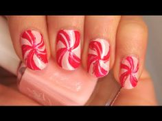 Pink Peppermint Candy Nails Tutorial