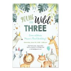 Shop Wild One Safari Animals Baby Shower Invitation created by figtreedesign. Personalize it with photos & text or purchase as is! Baby Shower Invitations For Boys, Birthday Invitations, Babyshower Invites, Animal Birthday, Twin Birthday, Wild Ones, Baby Boy Shower, Blog, Safari Animals
