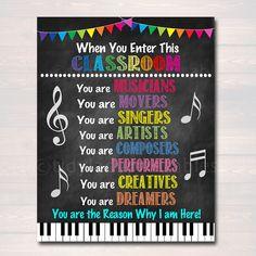 Music Teacher Classroom Printable Poster, Classroom Decor Drama Teacher Performing Arts, Music In Th Music Classroom Posters, Printable Classroom Posters, Art Classroom Decor, Teacher Posters, Classroom Rules, Creative Classroom Decorations, Classroom Ideas, Disney Classroom, Future Classroom