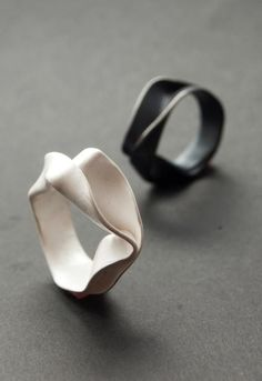 Fold formed rings; elegant contemporary jewellery design // Malin Winberg