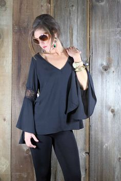 The Blakely | Wild Bleu, Draped Belle Sleeve Top with Crochet Accents