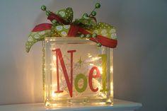 Glass Block Light...Noel Lighted Christmas Glass Block