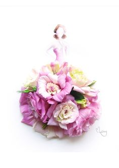 Pink Eustoma Gown Flower Watercolour Print by Love Limzy