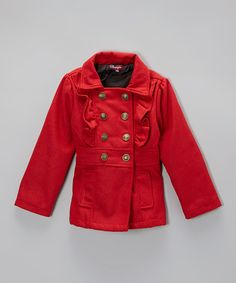 Take a look at the Real Red Double-Breasted Ruffle Jacket - Toddler & Girls on #zulily today!